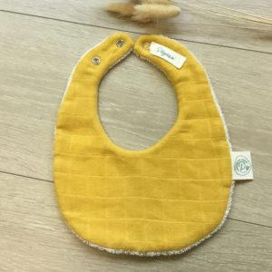 Mini bavoir en coton biologique jaune Pitigaïa